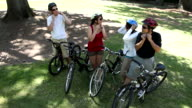 Family getting ready for bike ride video