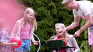 Family having barbecue video