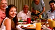 Family having christmas dinner at home video