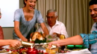 Family having christmas dinner at home video