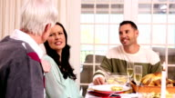 Family having christmas dinner together video