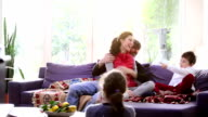 Family having close contact in the living room video