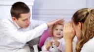 Family having fun at home video
