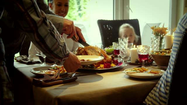 Family Having Traditional Holiday Stuffed Turkey Dinner video