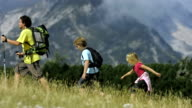 Family Hiking In The Mountains video