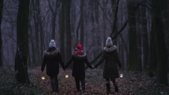 R/F Family holding hands while walking through a forest with lanterns video