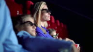Family in a movie theater. video