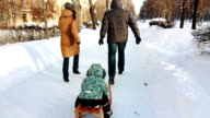 Family is sledging their son along the road. video