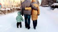 Family is walking in Winter Park. video