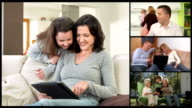 HD MONTAGE: Family Members On Multi Video Conference video