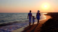 Family on beach getaway walking away holding hands along surf line at sunset video