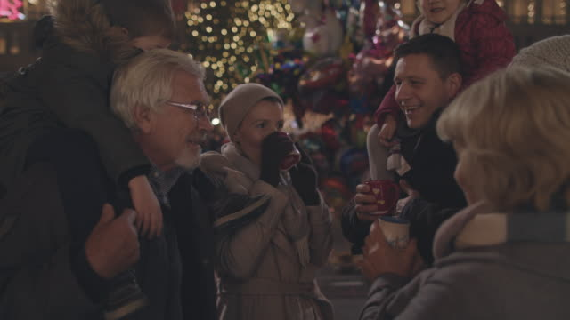 Family on Christmas market video
