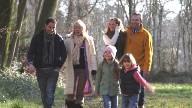 Family on country walk in the woods video