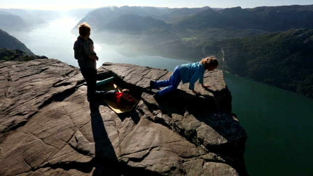 Family on Preikestolen massive cliff top (Norway) video