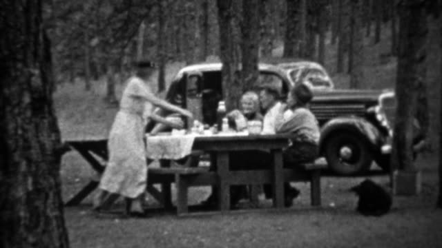 1935: Family picnic in pine tree forest at new black Plymouth car. video