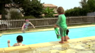 Family Playing In An Outdoor Private Swimming Pool video