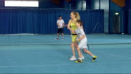DS LS Family Playing Indoor Tennis video