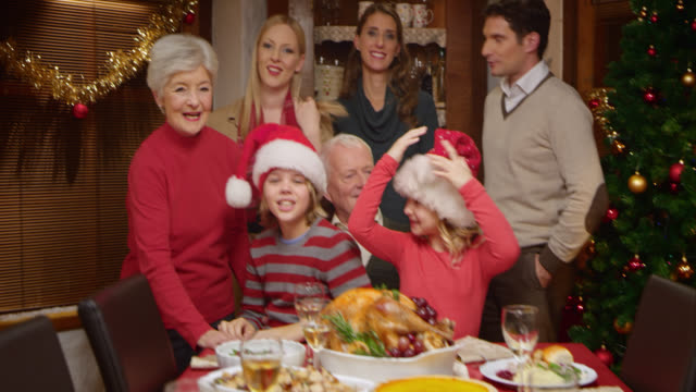 Family posing for a funny Christmas picture video
