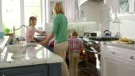 Family Preparing Roast Turkey Meal In Kitchen Shot On R3D video