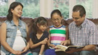 Family reading the Bible together video