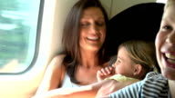 Family Relaxing On Train Journey video