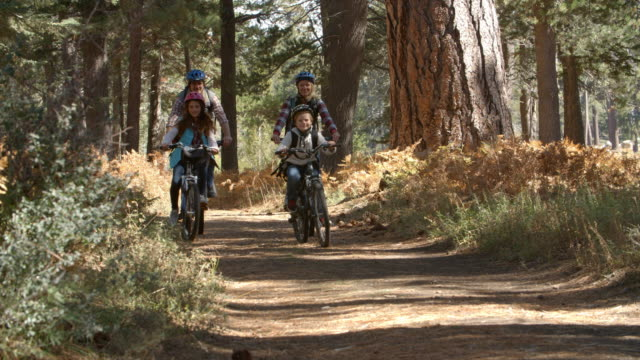 Family riding mountain bikes through a forest cycle past video