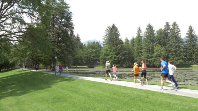 AERIAL Family running through park along a lake video
