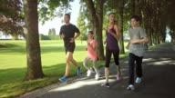 SLO MO TS Family running through tree avenue video