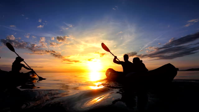 WS Family Sea Kayaking In The Sunset video