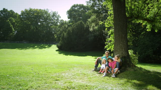 Family sitting in park video