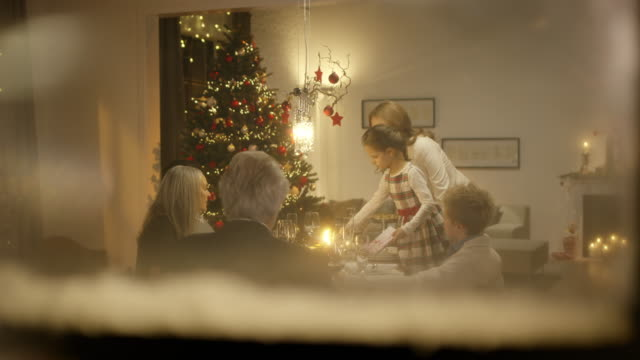 Family sitting on christmas table video