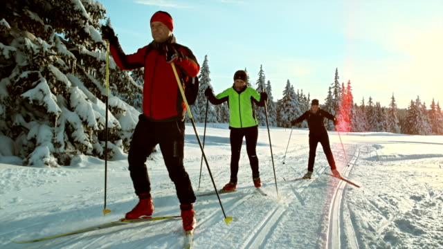TS SLO MO Family skiing on the cross country track video