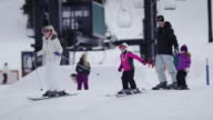 Family Snow Skiing at a Ski Resort video