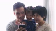 4K : Family taking selfie with mobile phone video