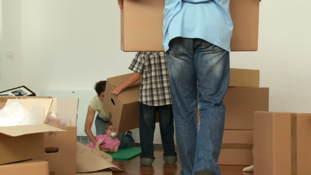 HD DOLLY: Family Unpacking In New Home video