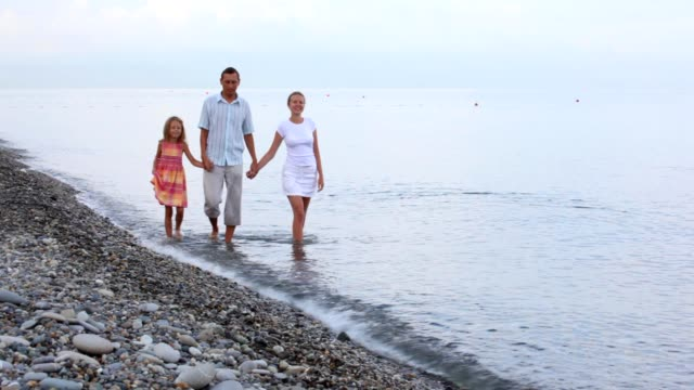 Family walking in sea surf, join hands, to camera video