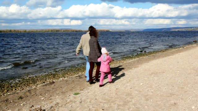 Family walking on sandy bank of river, from camera video