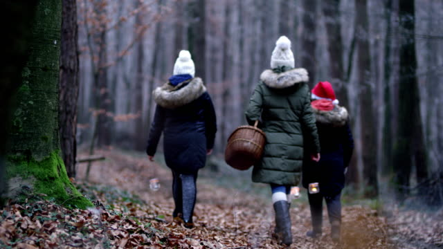 R/F Family walking through a cold forest with lanterns video