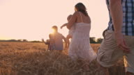SLO MO Family walking through the wheat field video