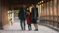 Family walking together through a Japanese Temple video