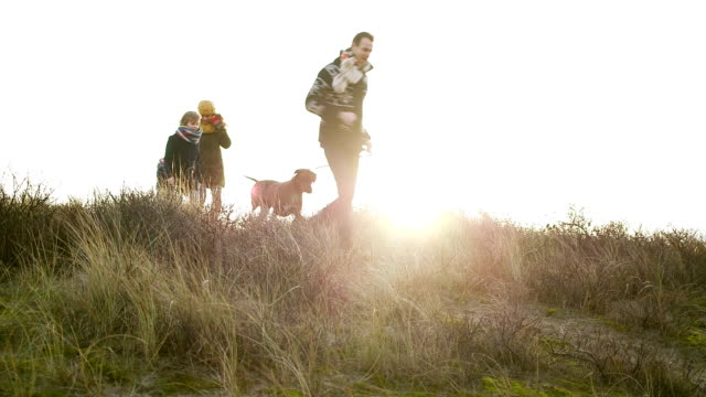 WS Family with dog running on hill video