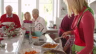 Family With Grandparents Prepare Christmas Meal Shot On R3D video