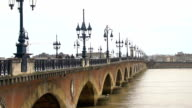 Famous Aquitaine bridge on Garonne river in France, beautiful view, cityscape video