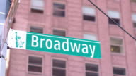 CLOSE UP: Famous Broadway street sign in Manhattan New York financial district video