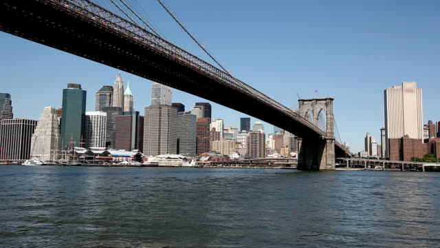 Famous Brooklyn Bridge and Manhattan, HD 1080p video