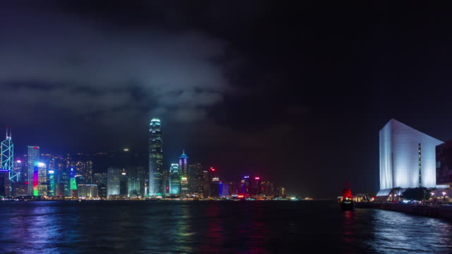 famous buildings night light 4k time lapse from hong kong china video