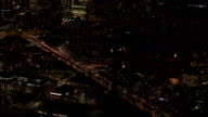AERIAL: Famous busy Brooklyn Bridge interchange overpass at evening rush hour video