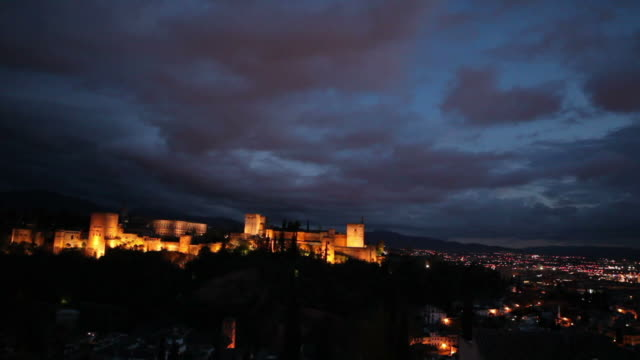 Famous castle in Granada during the night video