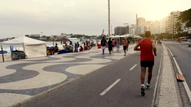 Famous Copacabana pedestrian walk video