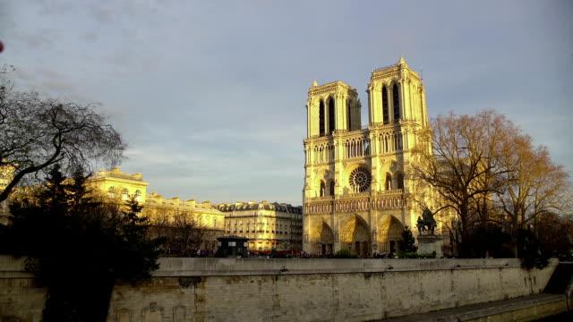 Famous Gothic cathedral Notre-Dame de Paris, beautiful landscape, tourism video